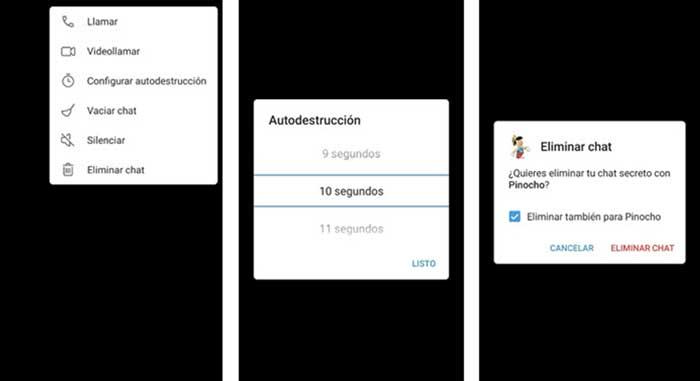 Opciones del chat secreto de Telegram