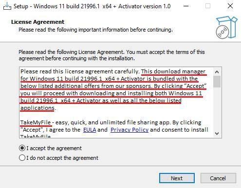 Ejemplo de un instalador falso de la nueva versión de Windows 11